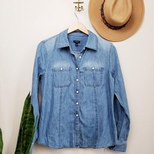 Womens cotton denim button down long sleeve shirt